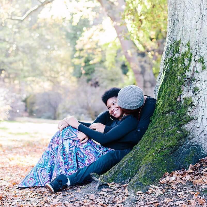 Kimaya and Zeiki Sitting By On Tree Square
