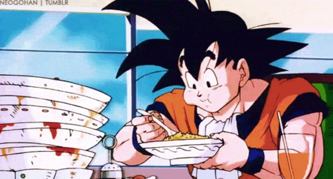Goku Eating Tons of Food