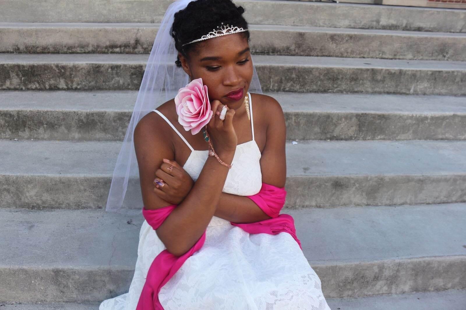 Kimaya Wedding Dress on Stairs